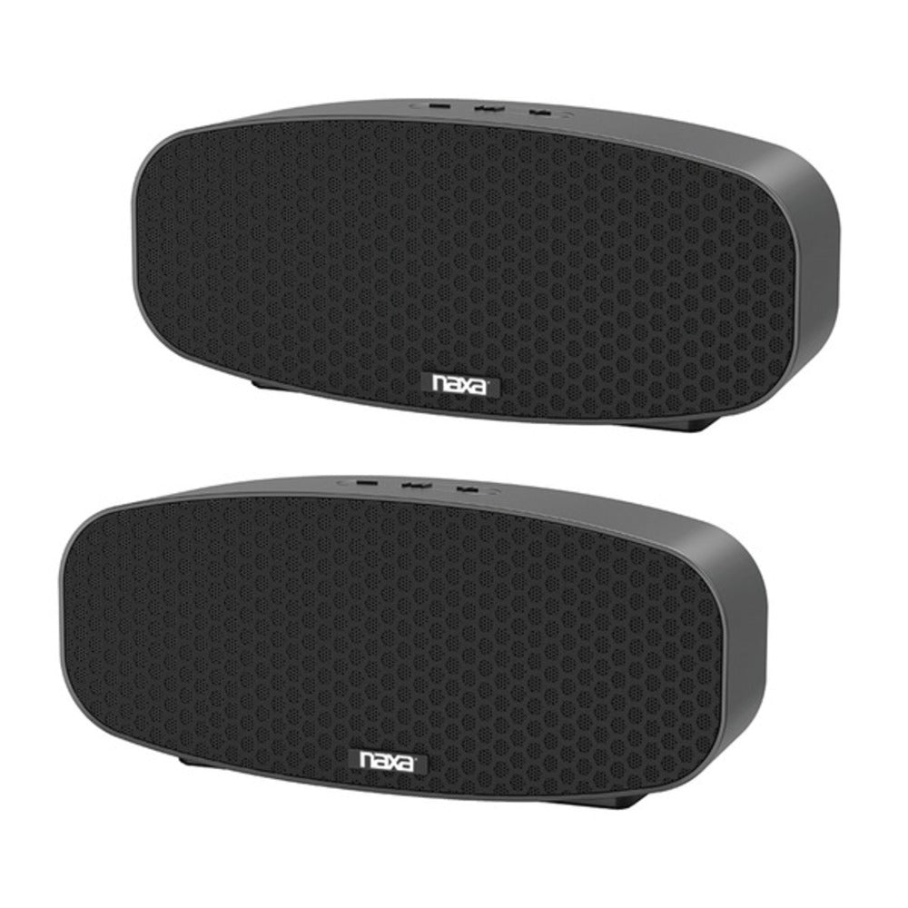 Naxa NAS-3105D Dual Bluetooth True Wireless Sync Speakers Combo (Rectangle) - GadgetSourceUSA