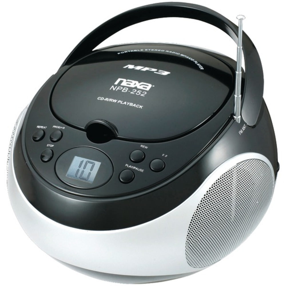 Naxa NPB252BK Portable CD/MP3 Players with AM/FM Stereo (Black) - GadgetSourceUSA