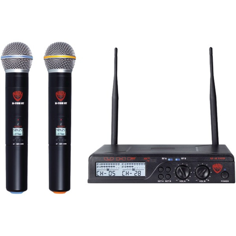 Nady U-2100 HT BAND A/B Dual UHF 100-Channel Wireless Handheld Microphone System