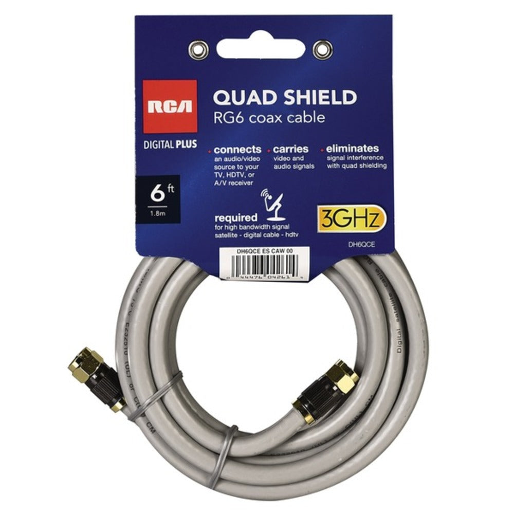 RCA DH6QCE Quad-Shield RG6 Coax Cable, 6 Feet - GadgetSourceUSA