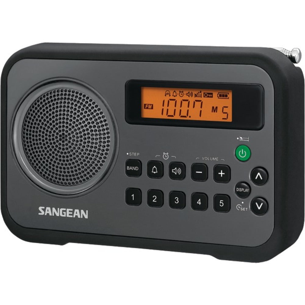 Sangean PR-D18BK AM/FM Digital Portable Receiver with Alarm Clock (Black) - GadgetSourceUSA