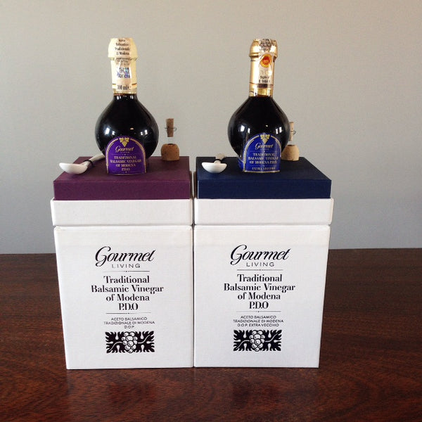 12 and 25-year-old DOP balsamic vinegar of Modena with presentation boxes