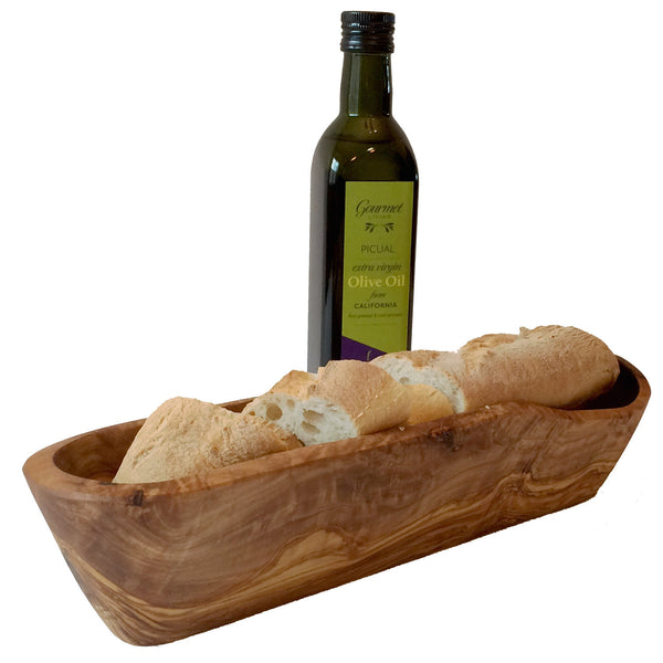 Rustic Olive Wood Bread Basket