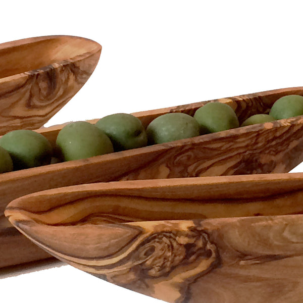 Olive Boat Server Made from Olive Wood