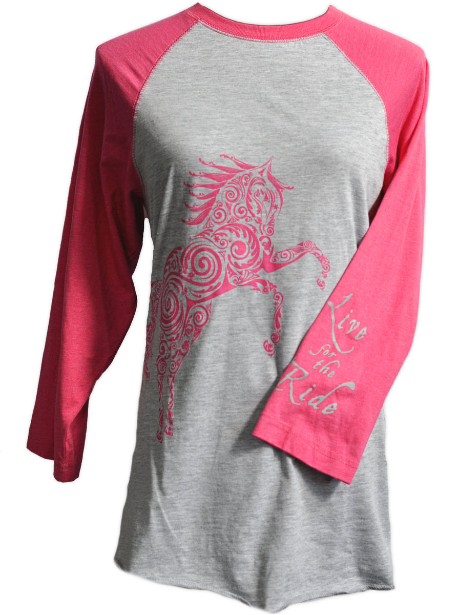 long sleeve t-shirts and baseball shirts for the horse lover