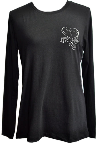 Baby Girl Heart Long Sleeve Horse T-shirt - Live for the Ride