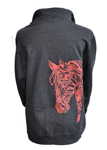 BOHO 1/4 Zip Cadet Collar Horse Sweatshirt - Live for the Ride