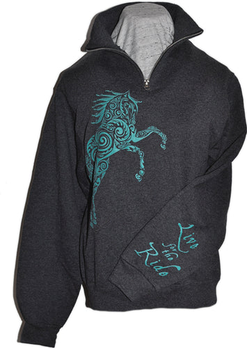 Paisley Pony 1/4 Zip Cadet Collar Horse Sweatshirt - Live for the Ride