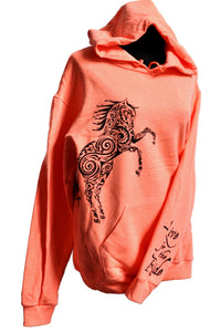 rearing horse hoodie bright coral