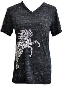 Paisley Pony Marbled V-neck T-Shirt* - Live for the Ride