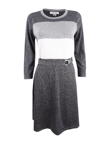 Calvin Klein Women's Belted Metallic Colorblocked Sweater Dress