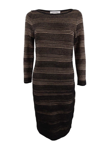 Calvin Klein Women's Metallic Mini-Striped Sweater Dress