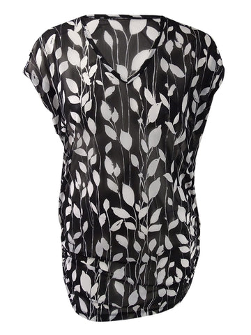 Anne Cole Women's Vines Printed Mesh Tunic Cover-Up (Black/White, S/M)