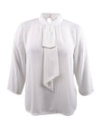 Tahari ASL Women's Ruffled Mock-Neck Top XS, Ivory White