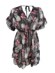 Miken Women's Plus Size Ruffled Floral-Print Dress Swim Cover-Up