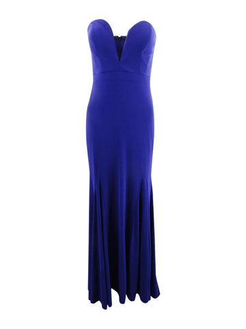 Avery G Women's Strapless Plunging Gown 6, Electric Blue