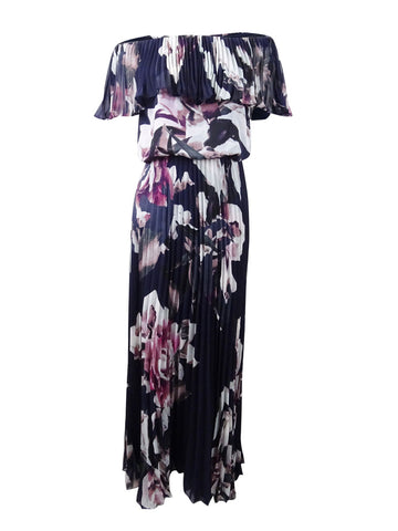 Xscape Women's Off-The-Shoulder Printed Chiffon Gown (4, Navy/Pink)