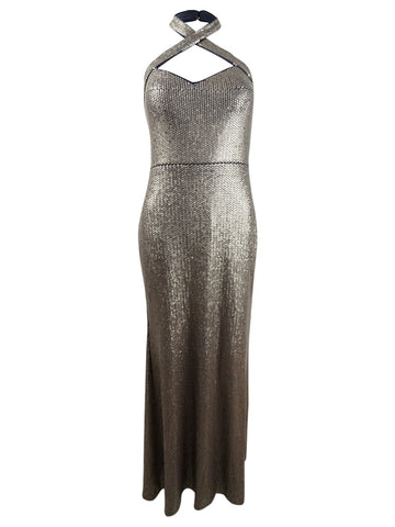 Xscape Women's Allover Sequin Crisscross Halter Gown
