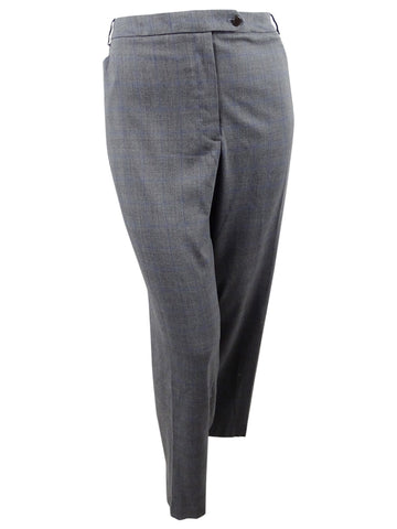 Calvin Klein Women's Plus Size Glen Plaid Pants (22W, Charcoal)