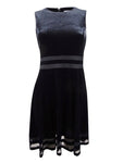 Calvin Klein Women's Plus Size Velvet Illusion A-Line Dress