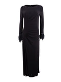 Calvin Klein Women's Plus Size Feather-Cuff Ruched Gown (24W, Black)