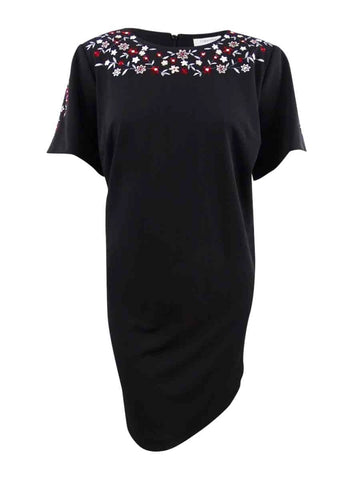 Calvin Klein Women's Petite Floral-Embroidered Dress 4P, Black