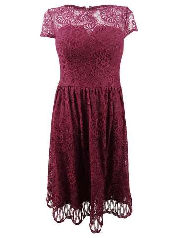 Kensie Women's Lace Midi Fit & Flare Dress (8, Burgundy)