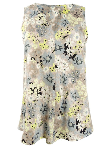 Calvin Klein Women's Floral-Print V-Neck Top (M, Zest Yellow Multi)