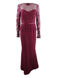 JS Collections Women's Illusion Lace-Sleeve Gown