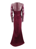 JS Collections Women's Illusion Lace-Sleeve Gown (12, Cabernet)