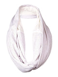Echo Design Women's Metallic Dot Lace Inset Infinity Scarf (OS, White)