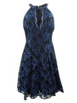 Nightway Women's Glitter-Lace Keyhole Halter Dress (6, Black/Navy)