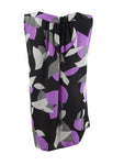 Nine West Women's Printed Jewel-Neck Shell (S, Steel/Black Multi)