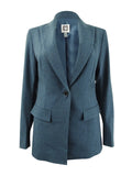 Anne Klein Women's Peak Lapel Long Jacket (16, Juniper)