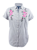 Karen Scott Women's Plus Size Cotton Embroidered Shirt