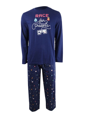 Family Pajamas Matching Men's Race For Presents Pajama Set (L, Presents)