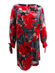 Taylor Women's Plus Size Floral Flocked Velvet Shift Dress