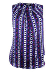 Nine West Women's Printed Pleated Shell Top (M, Blueberry Multi)
