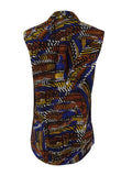 Kasper Women's Printed Tie-Neck Top