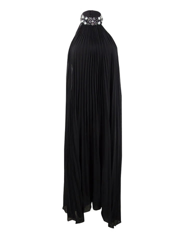 Laundry by Shelli Segal Women's Jewel Neck Pleated Chiffon Gown 6, Black