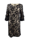 DKNY Women's Ruched-Sleeve Lace Sheath Dress 6, Black