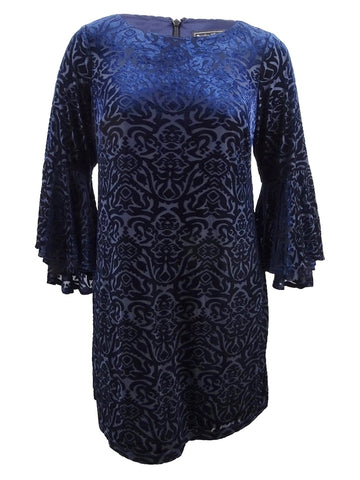 Jessica Howard Women's Plus Size Flocked Velvet Shift Dress