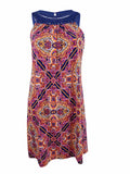 Jessica Howard Women's Crochet-Trim Printed Dress