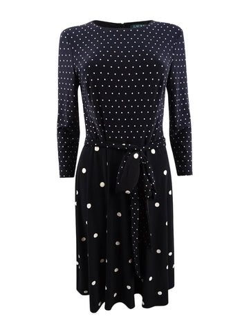 Lauren by Ralph Lauren Women's Polka-Dot Printed Fit & Flare Dress