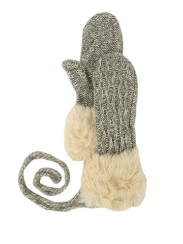 American Rag Women's FauxFur Cable Knit String Mittens (One Size, Heather Grey)