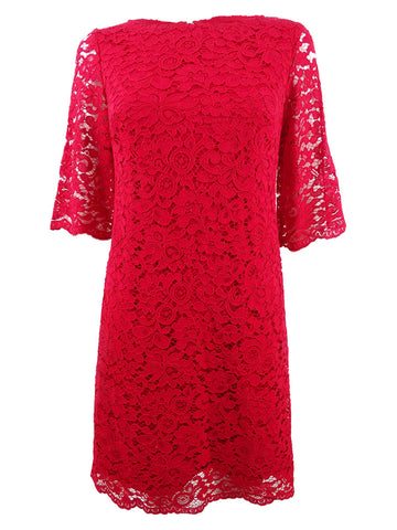 Lauren by Ralph Lauren Women's Lace Bell-Sleeve Shift Dress