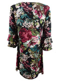 Connected Women's Petite Floral Printed Tiered-Bell-Sleeve Dress