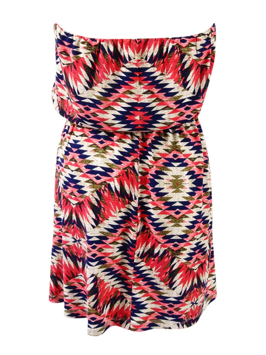 9460a6707 Trixxi Juniors' Printed Belted Dress S, Navy/Pink Aztec; Trixxi womens  dresses A-Line Apparel Blue
