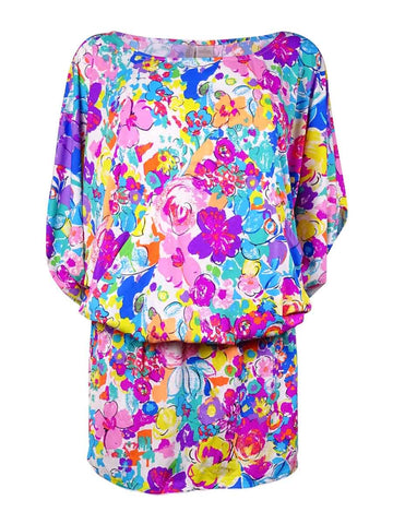 Anne Cole Women's Smocked Floral-Print Doodle Swim Cover