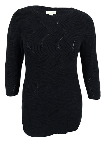 Charter Club Women's Wave-Knit 3/4 Sleeves Sweater